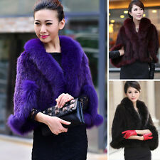 Womens Real Farm Mink Fur Fox Fur Poncho Stole Cape Scarf  Shawl Xmas Gift