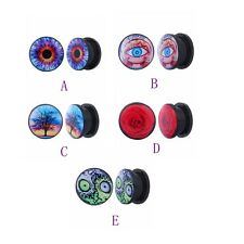 Acrylic Logo Partten Enamel Ear Plugs Tunnels Screw Ear Gauges Earrings 8-25mm