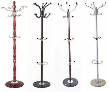 Coat Stand Hat Umbrella Storage Clothes Rail Rack Hanger Wood Metal Marble Base
