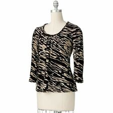 Womens Black Brushstroke Shirred Top Shirt Dana Buchman Small or Extra Large NEW