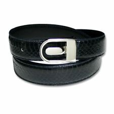 Men's Snake Skin Belt NAVY BLUE Genuine SnakeSkin Bonded Leather Belt & Buckle