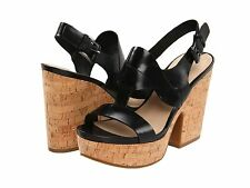 85% OFF NEW VIA SPIGA Flora Open Toe Black Calf Leather Sandal  $225 retail