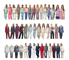 Ladies Silky Satin PJs Pyjamas Jammies Size 8 10 12 14 16 18 20 22 24 26 28