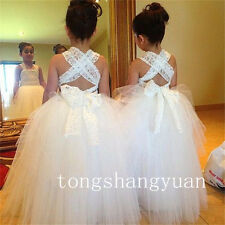 Applique Ruffle Flower Girl Dresses Lace Birthday Party Formal Ball Gown Pageant