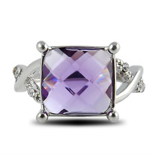 Ring Sterling Silver Amethyst & Diamond Chuky Square size S Classic Gift