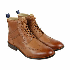 Sebago Dresden Wngtp Boot Mens Tan Leather Casual Dress Lace Up Boots Shoes