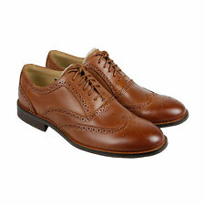 Sebago Dresden Wing Tip Mens Tan Leather Casual Dress Lace Up Oxfords Shoes