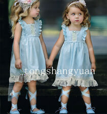 Applique Flower Girl Dress Cascading Ruffles Birthday Formal Prom Gowns Pageant