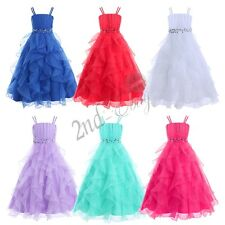 Flower Organza Girl Kid Dress Princess Pageant Wedding Bridesmaid Birthday Party