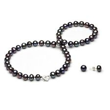 DaVonna Sterling Silver Freshwater Pearl Necklace and Earring Jewelry Set (7-8mm