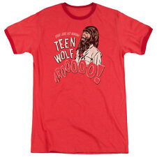 Teen Wolf Animal Mens Adult Heather Ringer Shirt Red