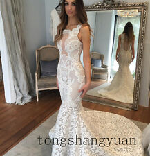 Mermaid Wedding Dresses For Bride White Ivory Lace Applique Bridal Gown 2017 New