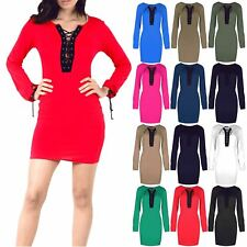 26Womens Ladies Bodycon Mini Dress Lace Up Eyelet Detail 70's Long Sleeve Tunic