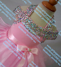 INFANT/TODDLER/BABY/CHILDREN/KIDS CRYSTAL BEADED PAGEANT PARTY DRESS G081F