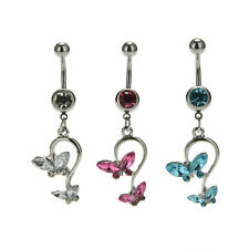 Butterfly Dangle Ball Barbell Bar Belly Button Navel Ring Body Piercing WB