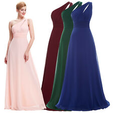 Long Chiffon Evening Gown One Shoulder Bridesmaid Dress Prom Formal Party Dress