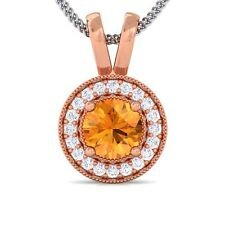 Orange Citrine GH SI Diamond Round Halo Gemstone Pendant Women 10K Rose Gold