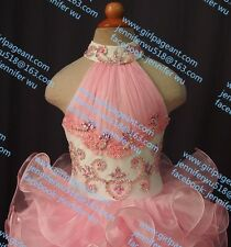 INFANT/TODDLER/BABY/CHILDREN/KIDS CRYSTAL BEADED PAGEANT PARTY DRESS G100-4