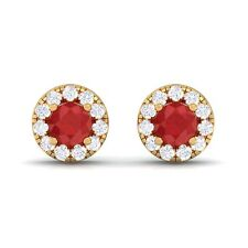 Red Ruby GH SI Diamond Gemstone Womens Halo Stud Earring 18K Yellow Gold