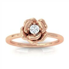 0.10ct GH SI Solitaire Round Diamond Rose Engagement Ring Women 18K Rose Gold