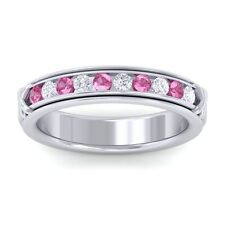 Pink Sapphire GH SI Fine Diamonds Half Eternity Womens Band 10K White Gold