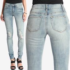 TheMogan Women's Light Stone Wash Ripped Distressed Destroyed Skinny Jeans 0~15