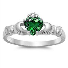 Claddagh Ring 925 Sterling Silver Emerald CZ Heart Promise Ring