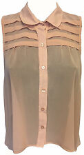 NUDE PINK SHEER SLEEVELESS SHIRT BLOUSE TOP TEE COLLARED BUTTON DOWN SIZE 12,14