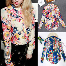 Women's Floral Print T-shirt Blouse Long Sleeve Casual Chiffon Tee Blouse S-XL