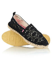 New Womens Superdry Espadrilles Black Crochet
