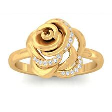 0.09ct GH SI Fine Diamonds Rose Flower Fashion Daily Wear Ring 14K Yellow Gold