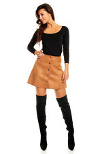 Ladies Women New Faux Suede Button Front Vintage A Line Mod 70's Mini Skirt 6-14