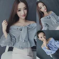 Summer Women Casual Striped Long Sleeve Blouse T-shirts Off Shoulder Crop Tops