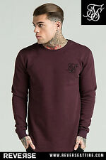Sik Silk Curved Hem Crew Sweater - Burgundy – 11 Degrees, Ilusive London