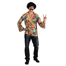 Mens Groovy Hippie Shirt Costume for 60s Mods Rockers Hippy Fancy Dress