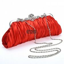 Women Satin Clutch Party Wedding Purse Evening Bag Bridal Handbag Wallet KEC2