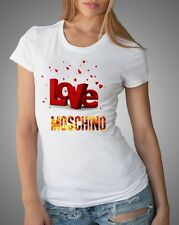White Sexy Women T-Shirt Top Tee Moschino Love Text