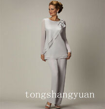 Long Sleeve Elegant Pants Suit Mother Of The Bride Dresses Chiffon Custom Newest