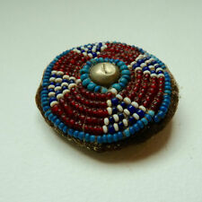 Antique Hand Beaded Native American Sioux Indian Original Medallion Rosette