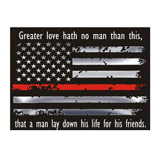 American Thin Red Line Flag No Greater Love Reflective Decal