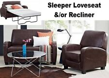 Brown Leather Home Theater Recliner Chair Sleeper Loveseat Recliners Furniture