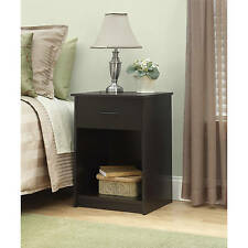 Nightstand Night Stand End Table 1 Drawer Furniture Bedroom Bedside Wood Brown