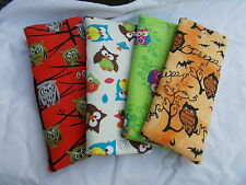 Handmade soft padded spectacle pouch / glasses case - owls & acorns cottons