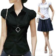 idomcats Cap Sleeve Office Cotton Blouse Collared Shirt Womens Ladies Top Size