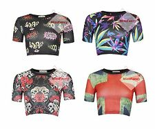 Womens Crop Tops Gothic Funky Cropped Top Tshirts