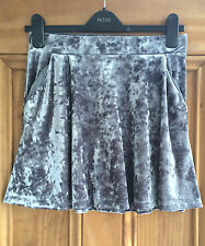 Topshop Petite New Grey Crushed Velvet Mini Party Skirt Uk Size 6 8 10 Bnwot
