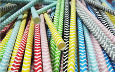 25 pcs Colored Paper Drinking Straws Chevron Striped Drinking Straw For Party
