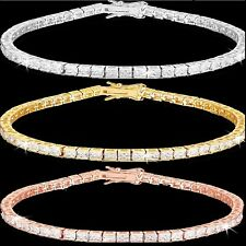 Rose Gold Silver Princess Cut Channel Set Cz Cubic Zirconia Tennis Line Bracelet