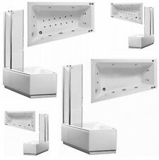 Offset Whirlpool Spa Corner Shower Bath | Panel Pack and Shower Screen