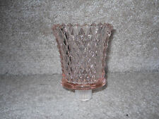 Home Interior HOMCO Pink Glass Diamond Point Cut Votive Cups Candle Holder Peg